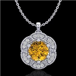 1.01 CTW Intense Fancy Yellow Diamond Art Deco Stud Necklace 18K White Gold - REF-136A4X - 37973
