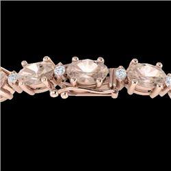 11 CTW Morganite & VS/SI Diamond Eternity Bracelet 10K Rose Gold - REF-123Y6K - 21453