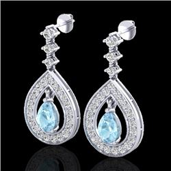 2.25 CTW Aquamarine & Micro Pave VS/SI Diamond Earrings Designer 14K White Gold - REF-103T3M - 23145
