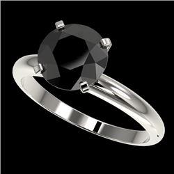 2.50 CTW Fancy Black VS Diamond Solitaire Engagement Ring 10K White Gold - REF-63F3N - 32945