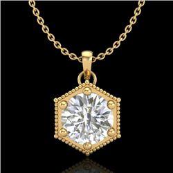 0.82 CTW VS/SI Diamond Solitaire Art Deco Stud Necklace 18K Yellow Gold - REF-218N2Y - 37222