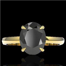 5 CTW Black VS/SI Diamond Designer Inspired Solitaire Ring 18K Yellow Gold - REF-161F8N - 22056