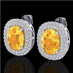 6 CTW Citrine & Micro Pave VS/SI Diamond Halo Earrings 14K White Gold - REF-118K2W - 20118