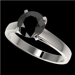 2 CTW Fancy Black VS Diamond Solitaire Engagement Ring 10K White Gold - REF-44K5W - 33032