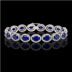 22.89 CTW Sapphire & Diamond Halo Bracelet 10K White Gold - REF-291F5N - 40607