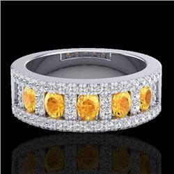 2 CTW Citrine & Micro VS/SI Diamond Inspired Ring 10K White Gold - REF-61K8W - 20822