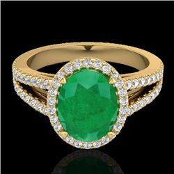 3 CTW Emerald & Micro VS/SI Diamond Halo Solitaire Ring 18K Yellow Gold - REF-83H6A - 20939