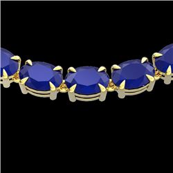 68 CTW Sapphire Eternity Designer Inspired Tennis Necklace 14K Yellow Gold - REF-234M9H - 23404