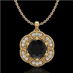 1.01 CTW Fancy Black Diamond Solitaire Art Deco Stud Necklace 18K Yellow Gold - REF-74T2M - 37970