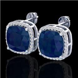 12 CTW Sapphire & Micro Pave Halo VS/SI Diamond Earrings 18K White Gold - REF-158A2X - 23068