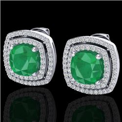4.95 CTW Emerald & Micro Pave VS/SI Diamond Halo Earrings 18K White Gold - REF-116A4X - 20162