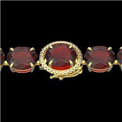 65 CTW Garnet & Micro VS/SI Diamond Halo Designer Bracelet 14K Yellow Gold - REF-233T3M - 22261