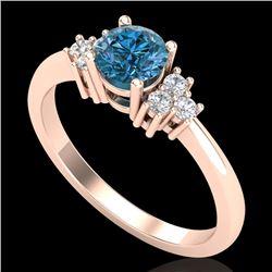 0.75 CTW Fancy Intense Blue Diamond Engagement Classic Ring 18K Rose Gold - REF-101N8Y - 37587