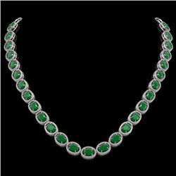 52.15 CTW Emerald & Diamond Halo Necklace 10K White Gold - REF-655K3W - 40553