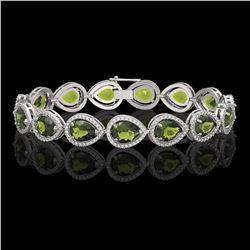 19.7 CTW Tourmaline & Diamond Halo Bracelet 10K White Gold - REF-361W3F - 41255