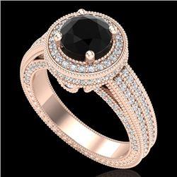2.8 CTW Fancy Black Diamond Solitaire Engagement Art Deco Ring 18K Rose Gold - REF-236N4Y - 38004