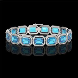 35.61 CTW Swiss Topaz & Diamond Halo Bracelet 10K White Gold - REF-337H3A - 41555