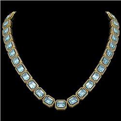78.34 CTW Sky Topaz & Diamond Halo Necklace 10K Yellow Gold - REF-712M5H - 41506