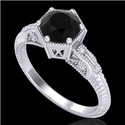 1.17 CTW Fancy Black Diamond Solitaire Engagement Art Deco Ring 18K White Gold - REF-85W5F - 38031