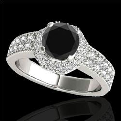 1.4 CTW Certified VS Black Diamond Solitaire Halo Ring 10K White Gold - REF-74W4F - 34552