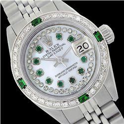 Rolex Men's Stainless Steel, QuickSet, Diam/Emerald Dial & Diam/Emerald Bezel - REF-563W5H