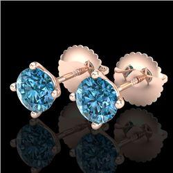 1.01 CTW Fancy Intense Blue Diamond Art Deco Stud Earrings 18K Rose Gold - REF-100W2F - 38231