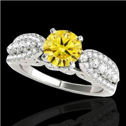 1.7 CTW Certified Si/I Fancy Intense Yellow Diamond Solitaire Ring 10K White Gold - REF-180N2Y - 352