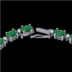 55.5 CTW Emerald & VS/SI Certified Diamond Eternity Necklace 10K White Gold - REF-425W5F - 29422