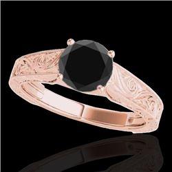1 CTW Certified VS Black Diamond Solitaire Ring 10K Rose Gold - REF-45N8Y - 35186