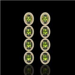 5.88 CTW Tourmaline & Diamond Halo Earrings 10K Yellow Gold - REF-121K3W - 40525