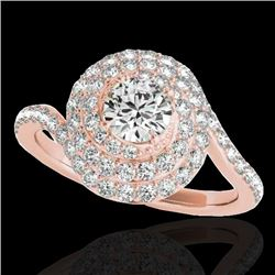 2.11 CTW H-SI/I Certified Diamond Solitaire Halo Ring 10K Rose Gold - REF-290M9H - 34514