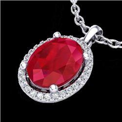 3 CTW Ruby & Micro Pave VS/SI Diamond Necklace Halo 18K White Gold - REF-59A3X - 21087