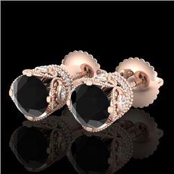 1.85 CTW Fancy Black Diamond Solitaire Art Deco Stud Earrings 18K Rose Gold - REF-109W3F - 37409