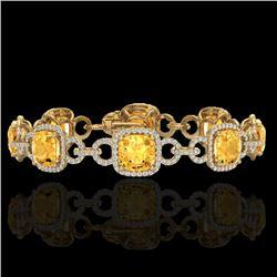 30 CTW Citrine & Micro VS/SI Diamond Bracelet 14K Yellow Gold - REF-368X9T - 23020