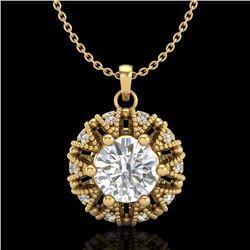 1.2 CTW VS/SI Diamond Art Deco Micro Pave Stud Necklace 18K Yellow Gold - REF-220K2W - 37000