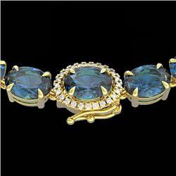 90 CTW London Blue Topaz & VS/SI Diamond Tennis Micro Halo Necklace 14K Yellow Gold - REF-281M8H - 2