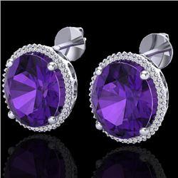 20 CTW Amethyst & Micro VS/SI Diamond Halo Pave Earrings 18K White Gold - REF-123F3N - 20262