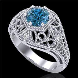 1.07 CTW Fancy Intense Blue Diamond Solitaire Art Deco Ring 18K White Gold - REF-218K2W - 37551