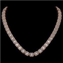 33.10 CTW Emerald Cut Diamond Designer Necklace 18K Rose Gold - REF-6910H2A - 42660