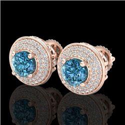 2.35 CTW Fancy Intense Blue Diamond Art Deco Stud Earrings 18K Rose Gold - REF-236H4A - 38133