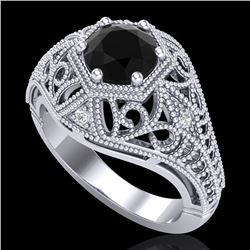 1.07 CTW Fancy Black Diamond Solitaire Engagement Art Deco Ring 18K White Gold - REF-85X5T - 37548