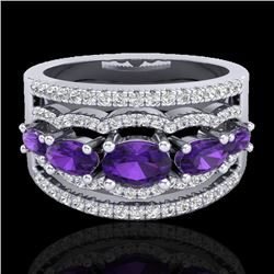 2.25 CTW Amethyst & Micro Pave VS/SI Diamond Designer Ring 10K White Gold - REF-66W9F - 20792