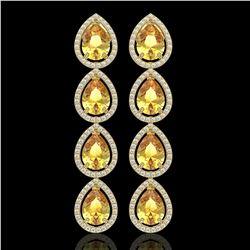 9.2 CTW Fancy Citrine & Diamond Halo Earrings 10K Yellow Gold - REF-154F2N - 41326