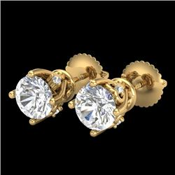 1.26 CTW VS/SI Diamond Solitaire Art Deco Stud Earrings 18K Yellow Gold - REF-209A3X - 37021