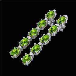 15.47 CTW Peridot & VS/SI Certified Diamond Earrings 10K White Gold - REF-107H5A - 29485