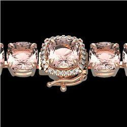 35 CTW Morganite & Micro Pave VS/SI Diamond Halo Bracelet 14K Rose Gold - REF-494T4M - 23316