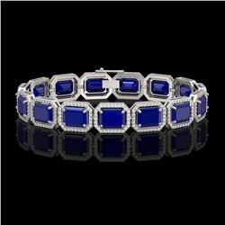 38.61 CTW Sapphire & Diamond Halo Bracelet 10K White Gold - REF-392M4H - 41528