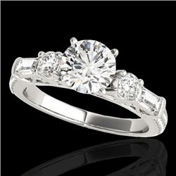 2.5 CTW H-SI/I Certified Diamond Pave Solitaire Ring 10K White Gold - REF-411W5F - 35480