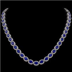 34.11 CTW Sapphire & Diamond Halo Necklace 10K White Gold - REF-537M5H - 40406