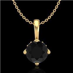 0.82 CTW Fancy Black Diamond Solitaire Art Deco Stud Necklace 18K Yellow Gold - REF-63F6N - 37802